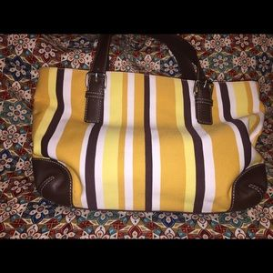 Fossil's Vertical Striped Fabric Satchel
